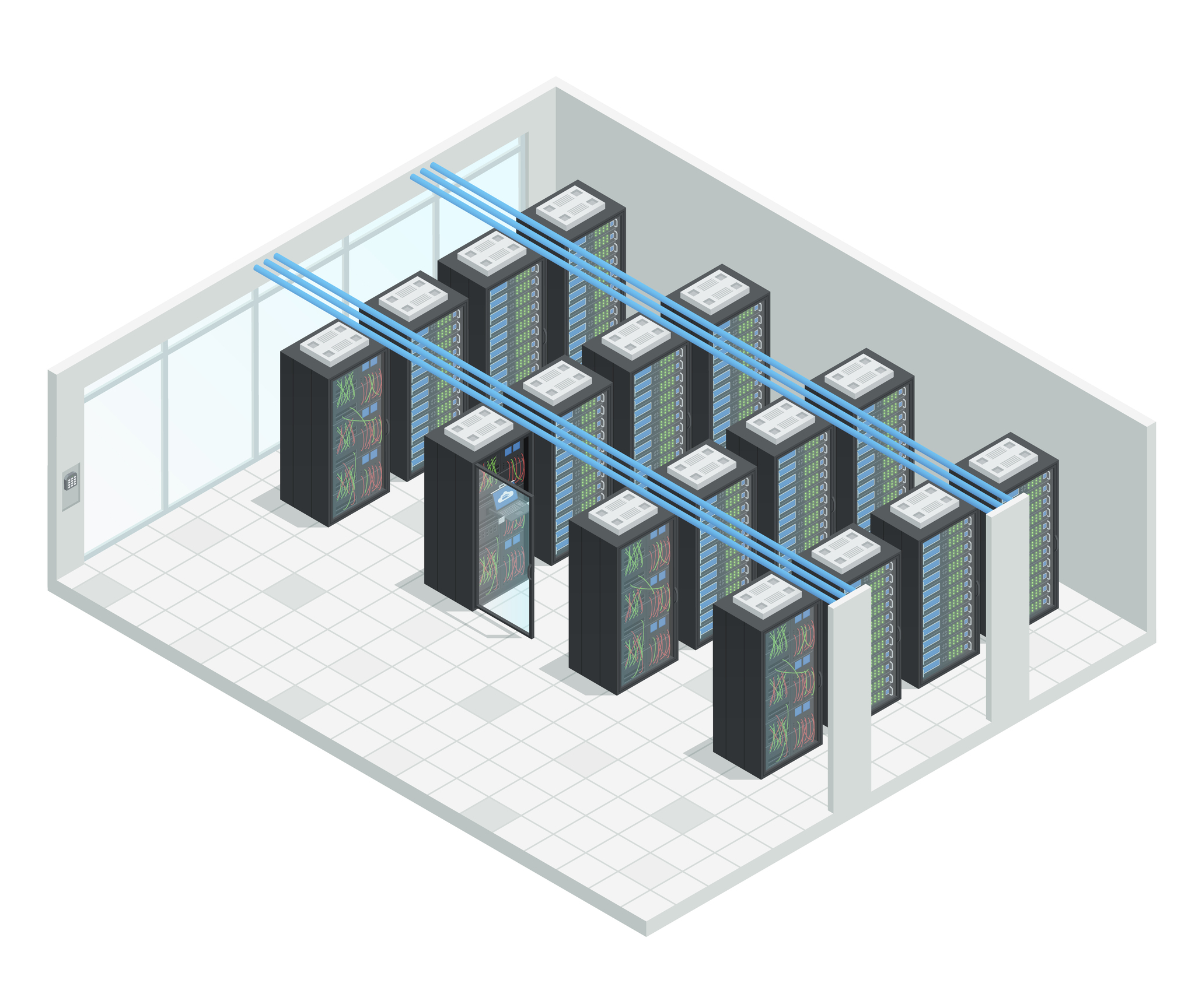 Server Room Isometric Interior